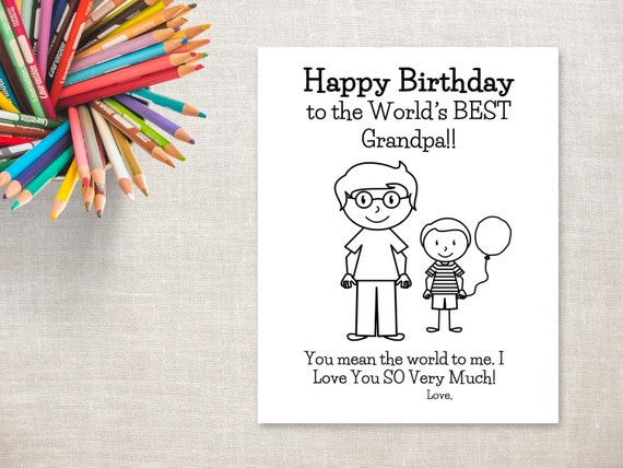 My Little Pony Happy Birthday Coloring Pages : Birthday coloring printable boy grandpa birthday card to
