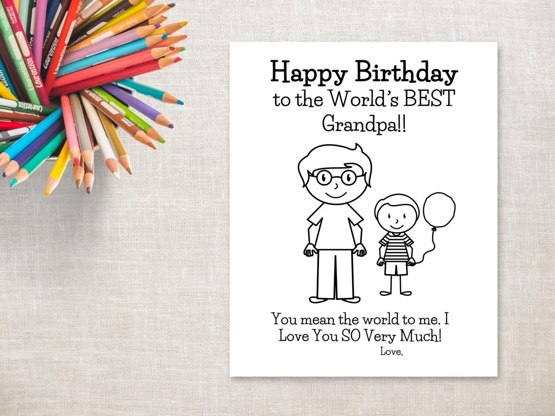 Cumpleaños para colorear para imprimir-Boy y abuelo tarjeta