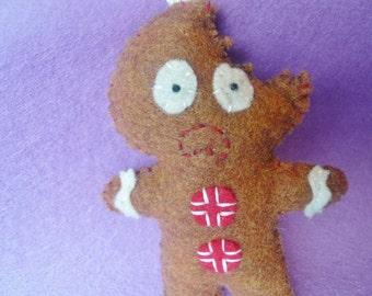 gingerbread man ornament funny Christmas felt decoration,  holiday decoration