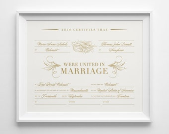 Custom Marriage Certificate, Personalized Wedding Keepsake, Calligraphic Bird, Gold and Ivory Wedding, Wedding Shower Gift, Anniversary Gift