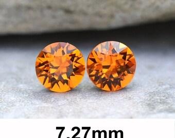 7.27mm Studs, Tangerine Earrings, Xirius studs, Rhinestone Stud Earrings, Stud Earrings, Orange Crystal Earrings