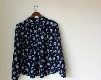 Vintage Navy Blue Blouse | Silk long sleeve floral shirt