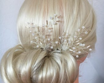 Bridal hair pins with ivory pearls wedding hair wedding hair jewelry style bride hair pins