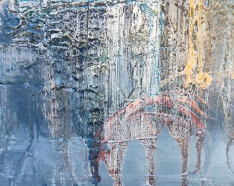 The Recovery Of Bliss Abstract original painting by artist Rafi Perez Mixed Medium on Canvas 36X16 Triptych