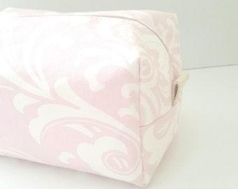 Pink Damask Makeup Bag - Make up Bag  - Cosmetic Pouch -  Lunch Bag - Wet Bag - Waterproof Bag - Bridesmaid Gifts