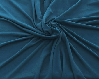 """Bamboo Spandex Fabric Jersey Knit by Yard TEAL 59""""W KH129"""
