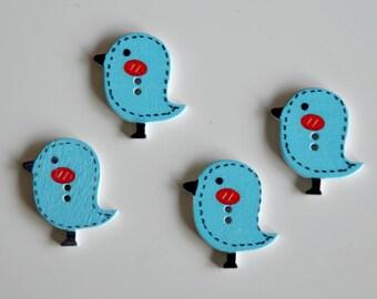 """4 blue wooden buttons """"CHEEP CHEEP"""""""