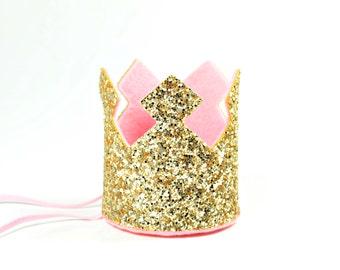 Gold Crown Birthday Crown, Gold Sparkle Crown, Cake Smash Photo Prop, First Birthday Crown, 1st Birthday Crown, Quinceanera Crown