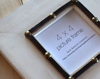4x4 Rustic Wood Picture Frame, Western Picture Frame with Leather Trim and Decorative Nails, Distressed White Picture Frame, Rustic Decor