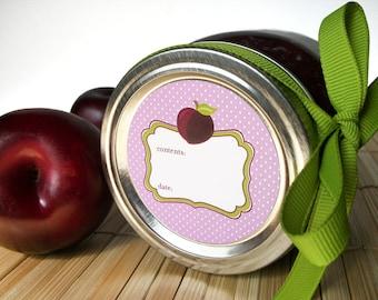Cute Plum canning jar labels, round stickers for regular & wide mouth jars, fruit preservation, jam jar labels, jelly labels, preserves
