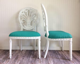 Vintage Custom Dining Chairs, Vintage Chairs, Teal Chairs, Dining Chairs,  Pair, White Chairs, Upholstered Chairs, Talking Chairs