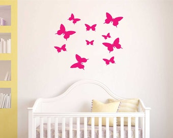 Butterfly wall stickers  X 10 / wall decal / REMOVABLE /girl theme