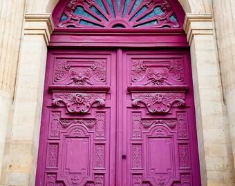 Paris Door Photography - Parisian Merlot - Fine art travel photography - French door art - Vintage beauty - merlot wine, apricot