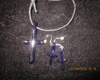 Cross and matching pierced Earings