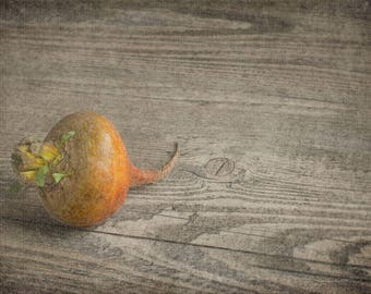 Golden Beet on Wood - Rustic Food Fine Art - Kitchen Decor - Farmhouse Simplistic - Still Life
