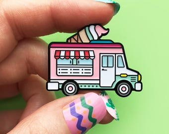 Ice cream truck pink, enamel pin