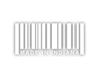 Made In Indiana barcode decal