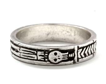 Georgian Skeleton Ring, Memento Mori Jewelry, Mourning Ring, Sterling Silver, Blue Bayer Design NYC
