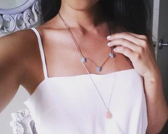 Amazonite & Orange Calcite Layered Necklace / Natural Crystal Layered Necklace / Layered Necklace / Double Layered Necklace / Crystal /