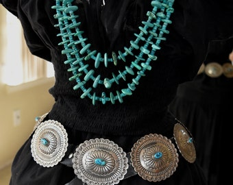 """Huge Gorgeous Vintage Navajo Silversmith Chris Charley Blue Gem Turquoise Heavy Sterling Silver Concho Belt 745 Grams 3 1/2"""" Conchos"""