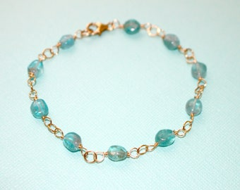 Wire Wrapped Teal Apatite Nuggets Bracelet