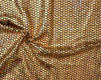 Gold Fish Scale Spandex Fabric Holographic Mermaid Sparkling Under the Sea Shiny Animal Print Snake Goldfish Yellowfish (By the Yard)