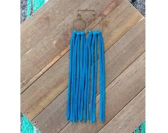 Lunatic Fringe' leather earrings/ boho/ boho chic/ western earrings/ gypsy earrings/ hippie/ turquoise leather