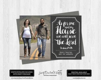 Christmas Photo Card As for me and my house Bible Verse Holiday Family Greeting Rustic Chalkboard Digital File or Printed Cards Christian