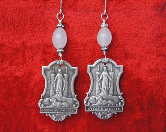 Antique Assemblage French Medal Earrings