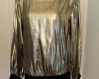 Flowy Vintage Gold Black Floral Velvet Trim Jewel Buttoned Blouse