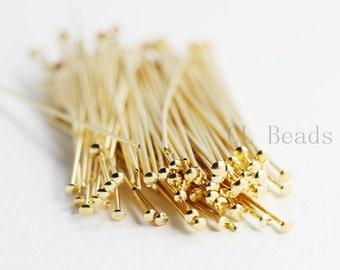 100pcs Gold Plated Brass Base Umbrella Head Pins-50mm (2 Inch)-20 Gauge (330C-I-16H)