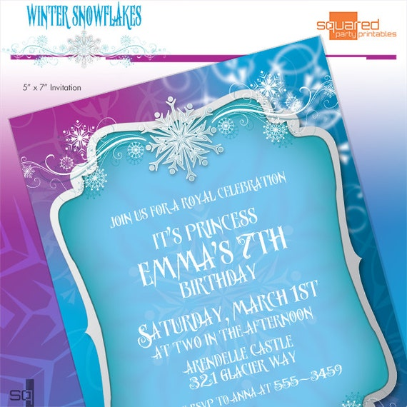 Frozen invitation printable ice princess winter snowflakes frozen invitation printable ice princess winter snowflakes invitation diy print do it yourself printables invites solutioingenieria