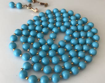 Vintage Robins Egg Blue Lucite and Gold Bead Necklace With Matching Clip On Earrings