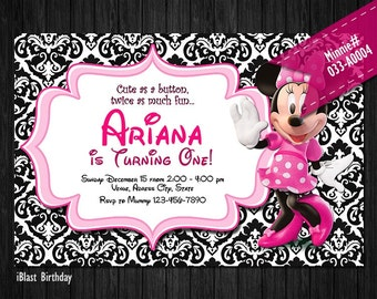 Minnie Invitation for Minnie Mouse Birthday or Baby Shower - DIY Printable multi pattern background