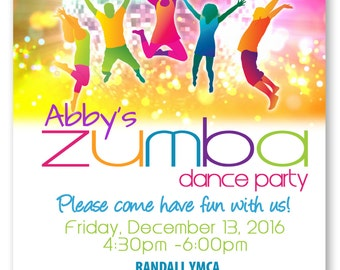 Zumba Party Invitation - Zumba Dance Party - Printable Zumba party invitation 5x7 DIY - NO PHOTO