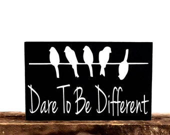 Birds On A Wire Wall Hanging, Home Decor Ideas, Motivational Wall Decor Sign, Wooden Wall Plaque, Dare To Be Different, Home Decor Wall Art,