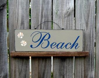 Beach Sign, Painted Wood Sign, Seashells, Sand, Ocean, Sea, Nautical Wall Decor, Beach House Decor, Tan, Navy Blue Lettering