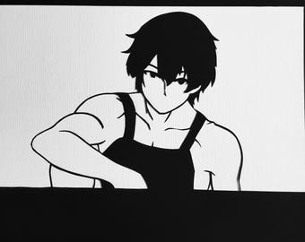 Food Wars!  // Satoshi Isshiki // handcut paper art // black silhouette