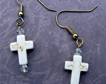 Cross Earrings with Crystal Beads
