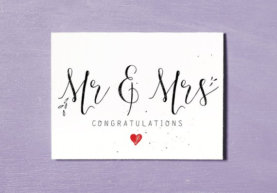 Mr & Mrs Printable Wedding Card Congratulations Bride and