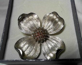Vintage Trifari Dogwood Flower Pin Brooch Silver Tone