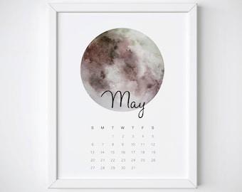 May Calendar Print, May 2018 Printable, 2018 Calendar, May Monthly Print, May Calendar Poster, May Wall Calendar