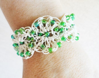 Handmade Crocheted White Cotton Bracelet with Green Beads By Distinctly Daisy
