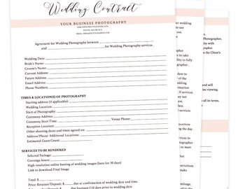 Wedding Contract Template, Wedding Contract Photography Business Forms, Wedding Contracts for Photographers, Photography Template, wc001