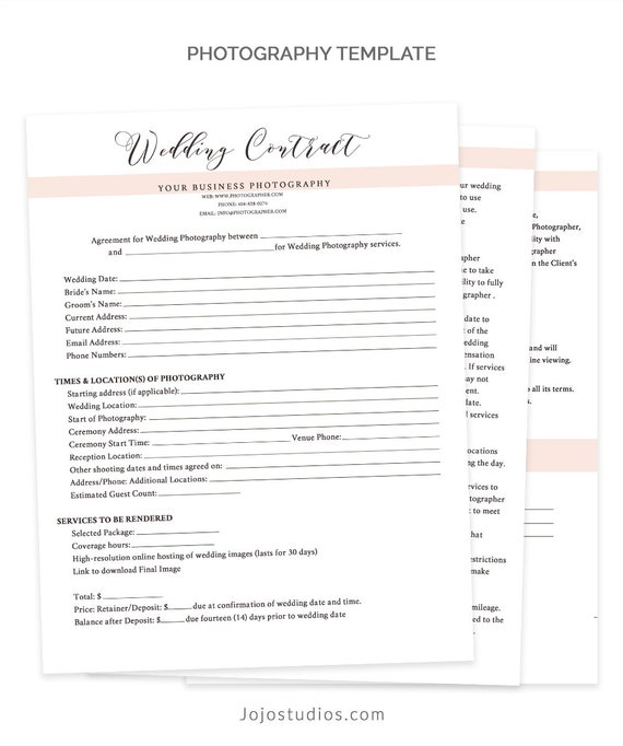 Wedding Contract Template Wedding Contract Photography