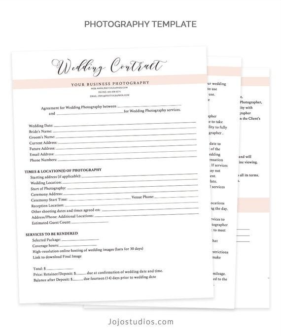 Wedding Contract Template Wedding Contract Photography