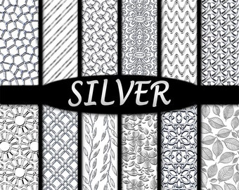 Silver Digital Papers & Metal Foil Backgrounds in 3D