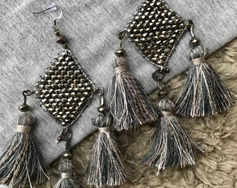 Silver and Blue Earrings, Large Statement Earrings, Large Tassel Earrings, Tassel Earrings, Beaded Tassel Earrings, Geometric Earrings