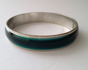 Vintage Silver Tone Green Bangle Bracelet