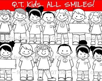 CLIP ART -  Q-T Kids  - All Smiles - Blackline Masters